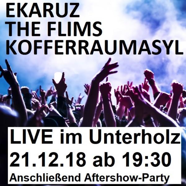 EKARUZ + The Flims + Kofferraumasyl LIVE am 21.12.18