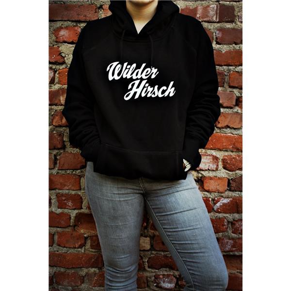 Wilder Hirsch Hoodie Schwarz