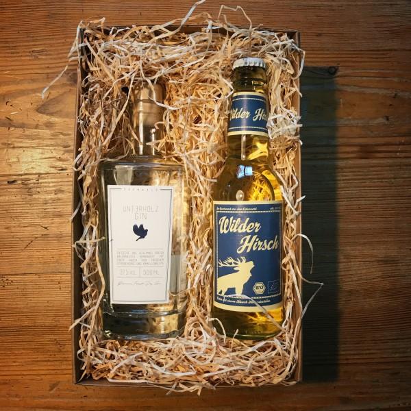 Unterholz Gin Geschenk-Box mit Wilder Hirsch Holunder BIO