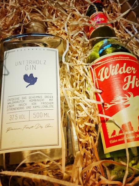 Unterholz Gin Geschenk-Box mit Wilder Hirsch Maracuja-Zitrone